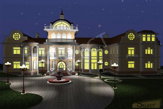 Ночная 3D визуализация виллы
