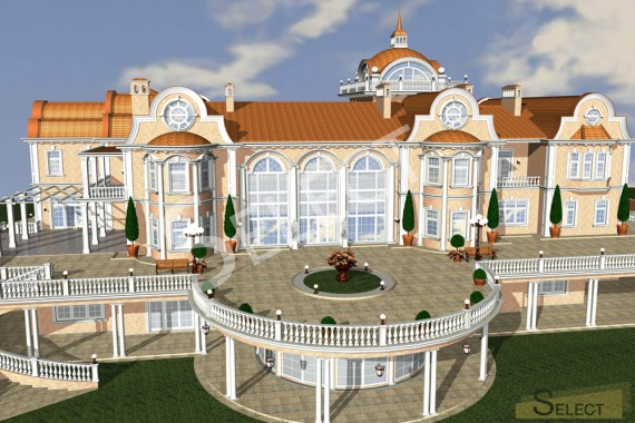 3D rendering of the villa top view at an angle of 60 degrees