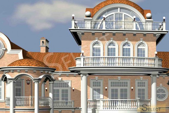 Close-up 3D rendering of the villa