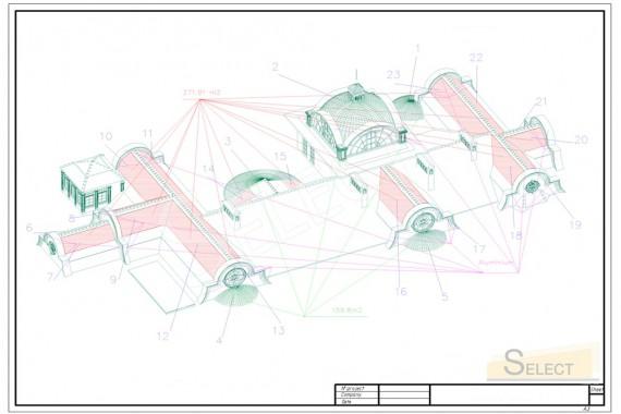 план крыши виллы 3D