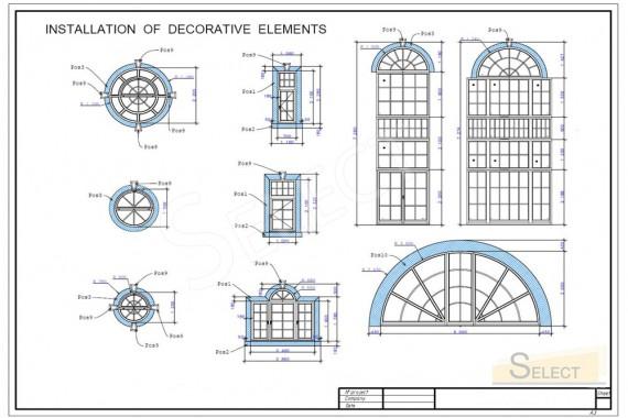 Чертеж монтажа декоративных элементов крыши виллы под городом. Стеклянная декорация и окна