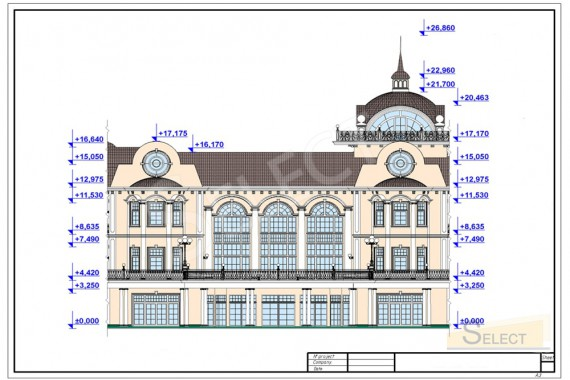 Visual drawing of the dimensions of the facade of the villa
