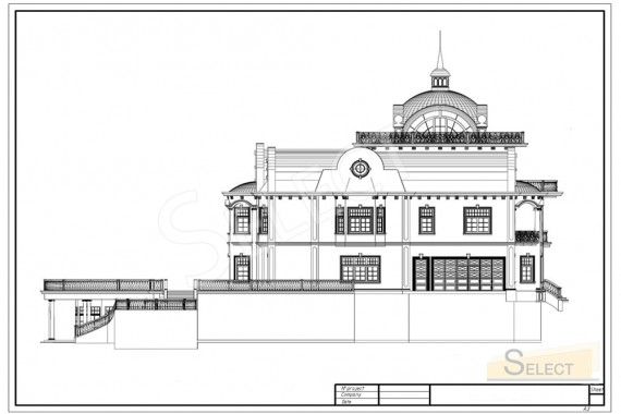 Side drawing of the villa