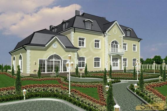 Визуализация коттеджа семьи на отдыхе с представлением оттенка фасада здания