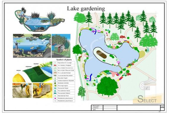 План дизайн исскуственного водоема с беседкой на острове