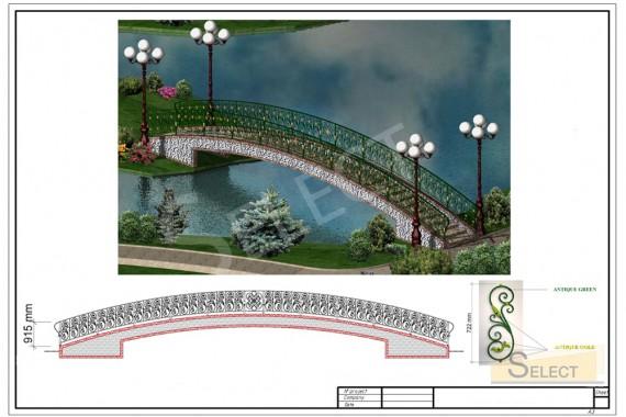 3D визуализация мостика. Мост на остров в искусственном водоеме