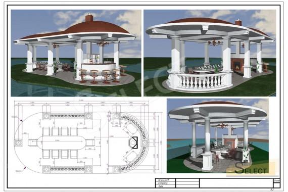 3D визуализация беседки на острове. беседка на остров через искусственный водоеме