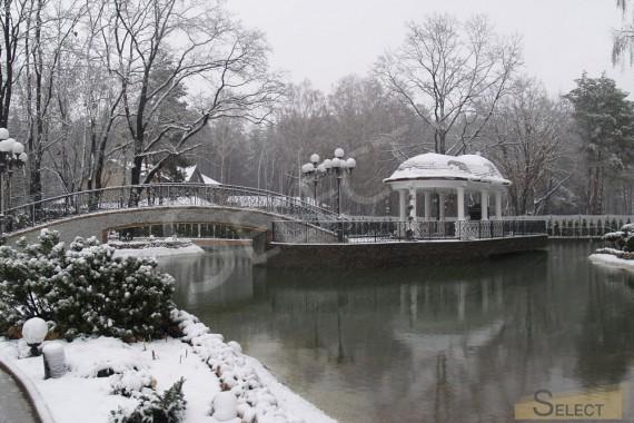 Фото зимнего вида искусственного водоема перед зданием виллы . Вид на остров с беседкой зимой