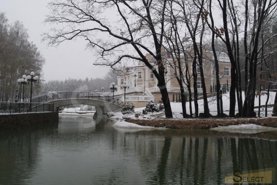 Фото зимнего вида искусственного водоема перед зданием виллы . Зимний вид на остров с беседкой