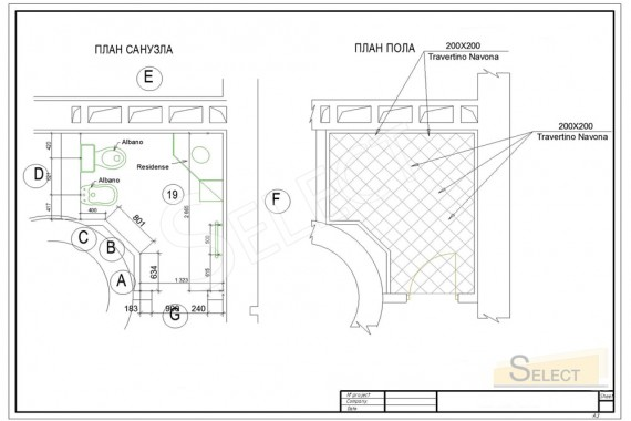 Bathroom plan and floor plan with tile pattern
