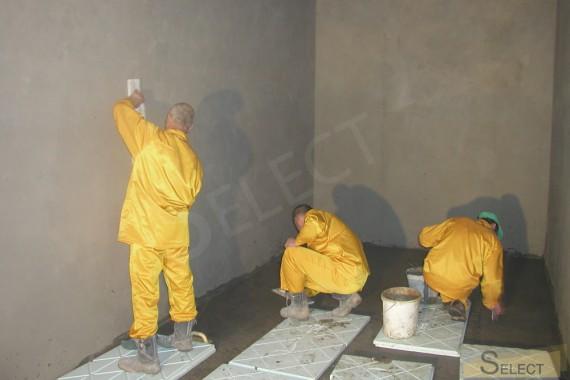 Ремонтные работы в санузеле на цокольном этаже с проблемным сливом