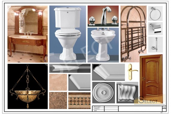 Complete set Toilet, bidet - Simas Faucets, accessories - Kohler bathroom with Roman motives Heated towel rail - Traditional Bathrooms