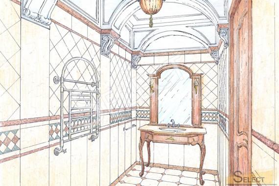 Дизайн ванной комнаты с римскими мотивами