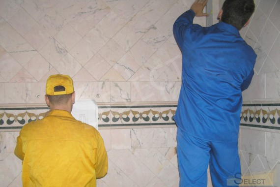 Photo. Construction work in the bathroom in natural marble