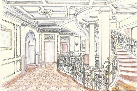 Дизайн лестнично-лифтовой узел малоэтажного жилого дома